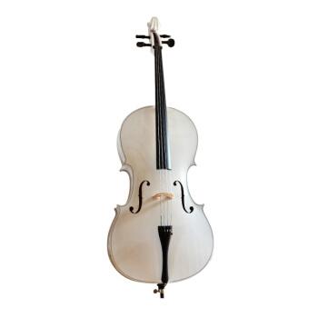 2019新品の初心者はチェロのカラーチェロを練習しました。マットホワイトの光沢があります。黒チェロの西洋弦楽器のホワイト1/2