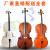 初心者の練習チェロのカラーチェロの光が白くて黒いチェロの楽器ナツメの赤色の3/4